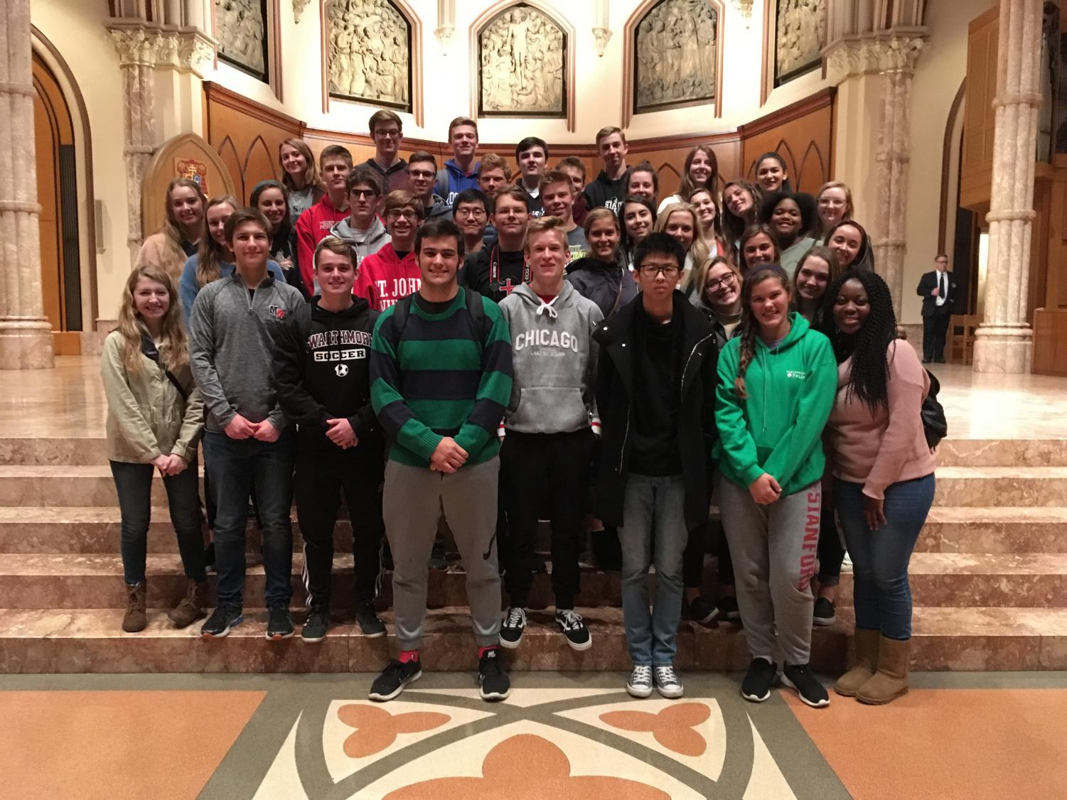 Students+from+Mount+Michael+Benedictine+in+Elkhorn+and+Marian+in+Omaha+take+a+group+photo+in+the+Holy+Name+Cathedral+of+Chicago+after+the+Saturday+sessions+of+the+JEA%2FNSPA+Convention.